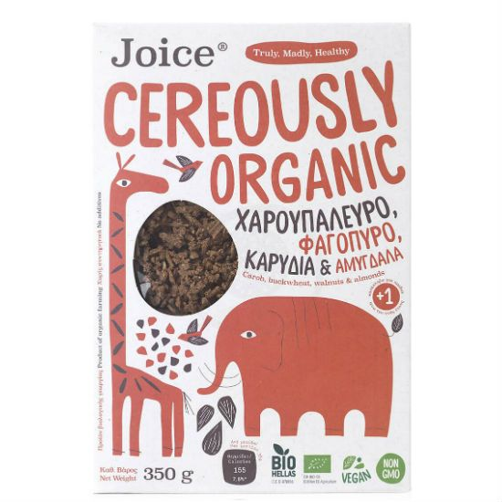 Joice Cereously Organic Δημητριακά με Χαρουπάλευρο ,Φαγόπυρο,Καρύδια & Αμύγδαλα 350gr