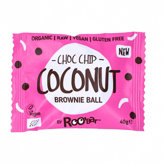 - brownie ball coconut choc chip - Roobar Brownie Ball με Καρύδα & Κομματάκια Σοκολάτας 40gr