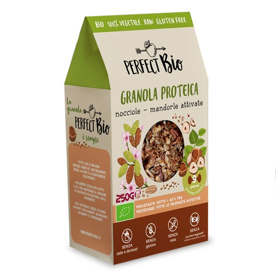 Perfect Bio Γκρανόλα Πρωτεΐνης με Φουντούκια & Ενεργοποιημένα Αμύγδαλα 250gr